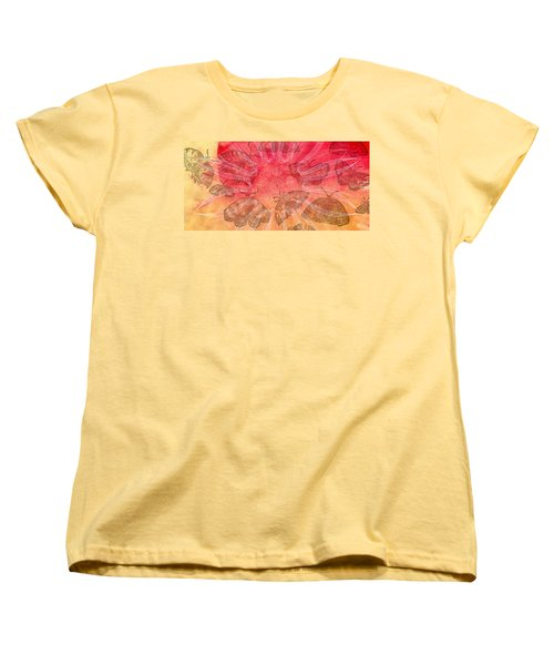 Women's T-Shirt (Standard Cut) featuring the digital art Butterfly Letterpress Watercolor by Kyle Hanson