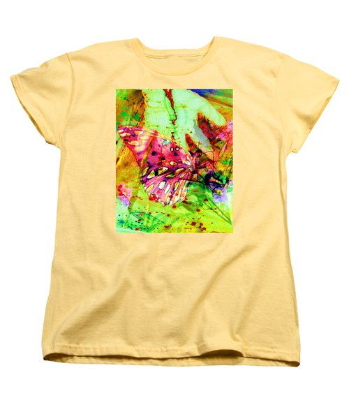 Women's T-Shirt (Standard Cut) featuring the painting Butterfly That Was A Muscian by David Mckinney
