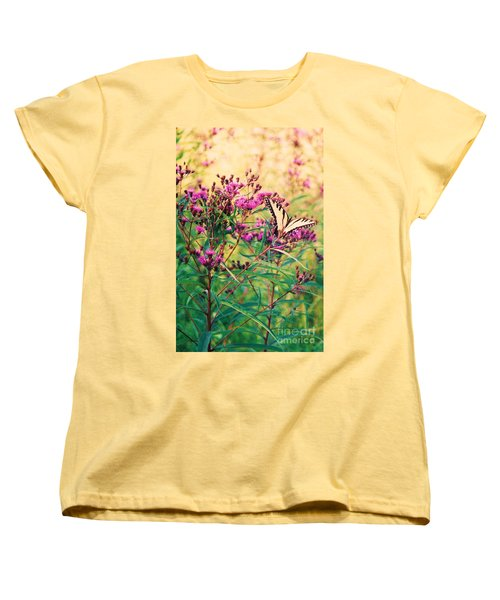 Women's T-Shirt (Standard Cut) featuring the painting Butterfly Wildflower by Eric  Schiabor