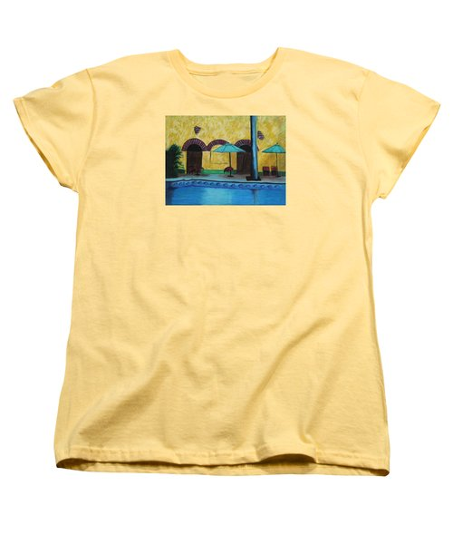 Women's T-Shirt (Standard Cut) featuring the painting By The Poolside by Jeanne Fischer