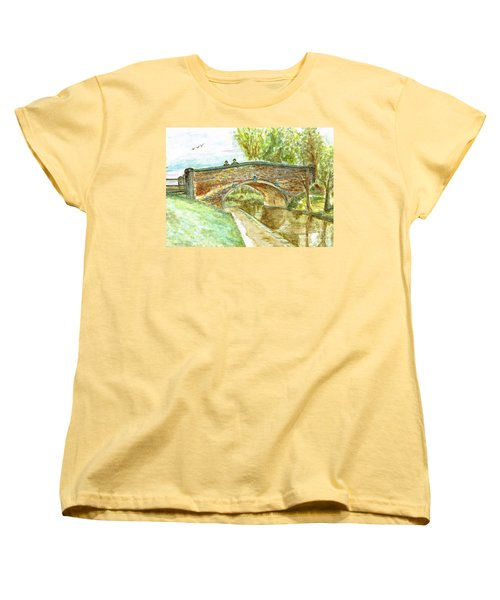 Women's T-Shirt (Standard Cut) featuring the painting Canal-bridal Path In Staffordshire  by Teresa White
