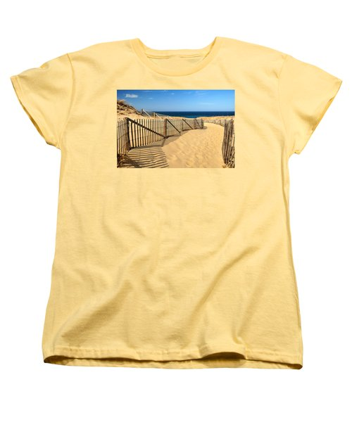 Women's T-Shirt (Standard Cut) featuring the photograph Cape Cod Beach by Mitchell R Grosky