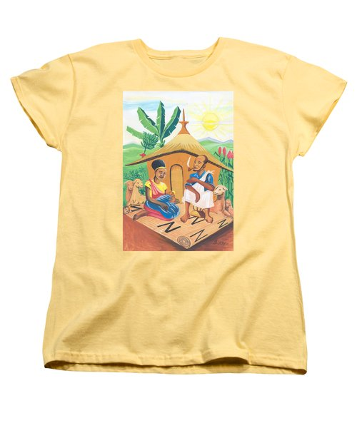 Women's T-Shirt (Standard Cut) featuring the painting Celebration Of The Nativity In Rwanda by Emmanuel Baliyanga