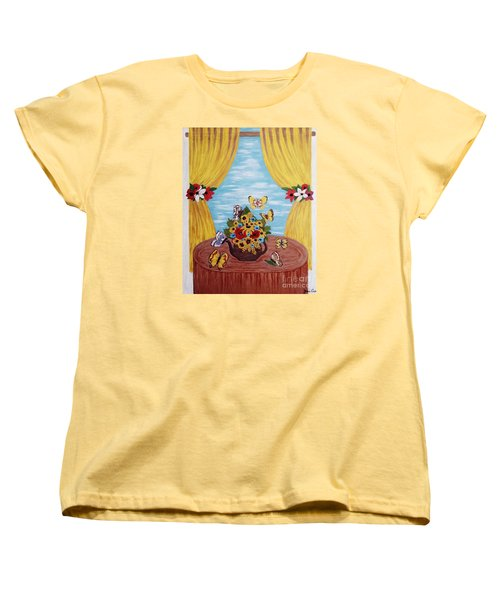 Women's T-Shirt (Standard Cut) featuring the painting Cheerful Butterflies by Jasna Gopic