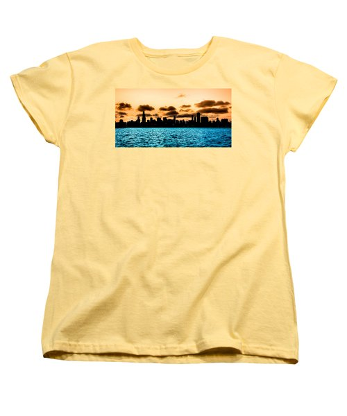 Chicago Skyline Silhouette Women's T-Shirt (Standard Cut) by Semmick Photo