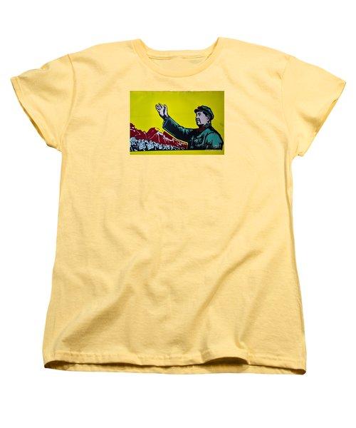 Chinese Communist Propaganda Poster Art With Mao Zedong Shanghai China Women's T-Shirt (Standard Cut) by Imran Ahmed
