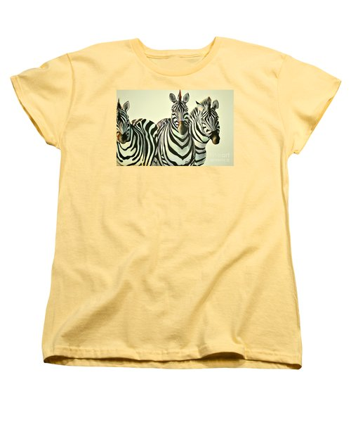 Women's T-Shirt (Standard Cut) featuring the painting Colorful Zebras Painting by Maja Sokolowska