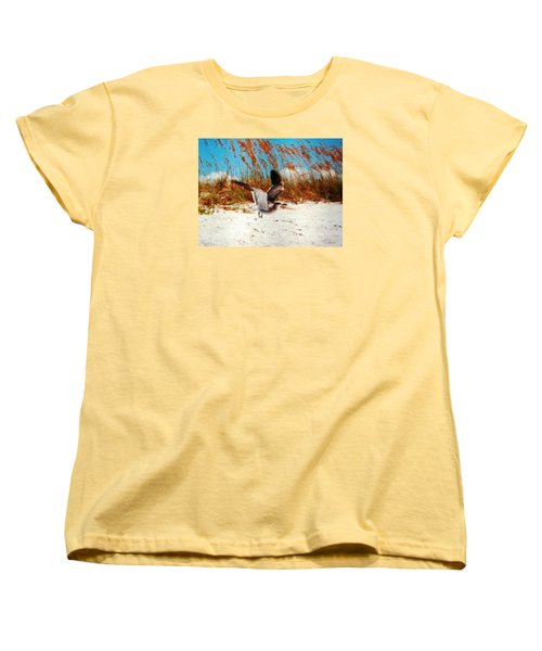 Women's T-Shirt (Standard Cut) featuring the photograph Windy Seagull Landing by Belinda Lee