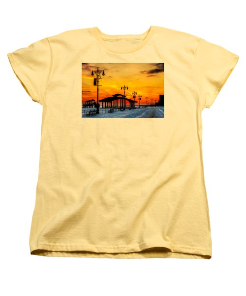 Coney Island Winter Sunset Women's T-Shirt (Standard Cut) by Chris Lord