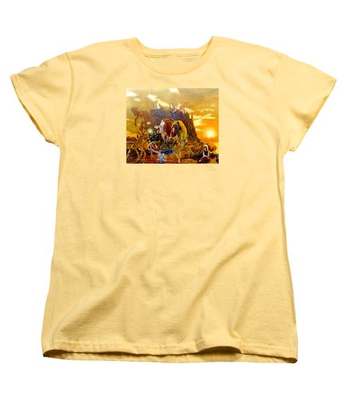 Women's T-Shirt (Standard Cut) featuring the painting Constructors Of Time by Henryk Gorecki
