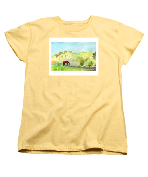 Women's T-Shirt (Standard Cut) featuring the painting Cool Drink by C Sitton