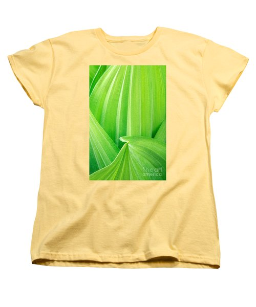 Women's T-Shirt (Standard Cut) featuring the photograph Corn Lily Leaf Detail Yosemite Np California by Dave Welling