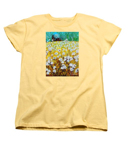 Cotton Fields Back Home Women's T-Shirt (Standard Cut) by Eloise Schneider