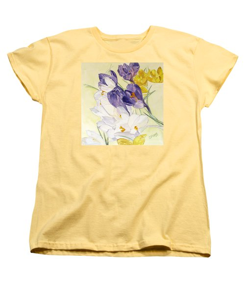 Women's T-Shirt (Standard Cut) featuring the painting Crocus by Carol Flagg