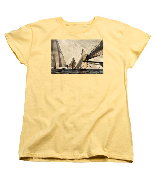 A Vintage Processed Image Of A Sail Race In Port Mahon Menorca - Crowded Sea Women's T-Shirt (Standard Cut)
