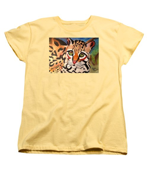 Curious Ocelot Women's T-Shirt (Standard Cut) by Renee Michelle Wenker