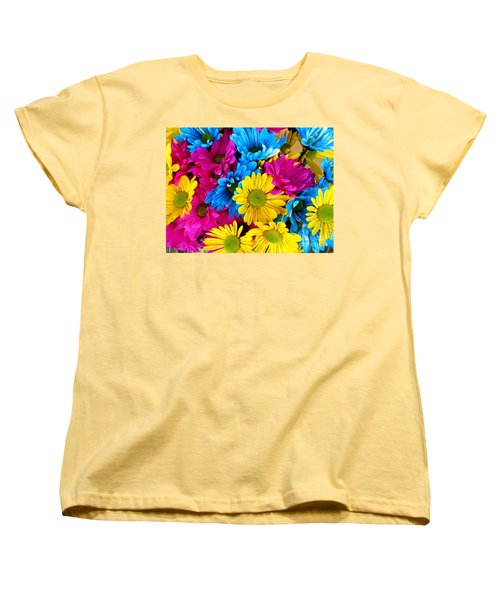 Women's T-Shirt (Standard Cut) featuring the photograph Daisys Flowers Bloom Colorful Petals Nature by Paul Fearn