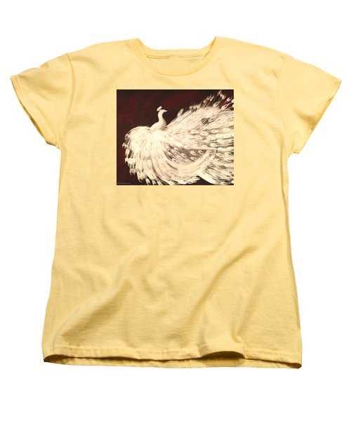 Women's T-Shirt (Standard Cut) featuring the painting Dancing Peacock Cream by Anita Lewis