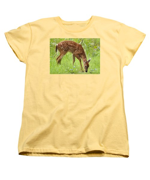 Women's T-Shirt (Standard Cut) featuring the photograph Little Fawn Blue Wildflowers by Nava Thompson