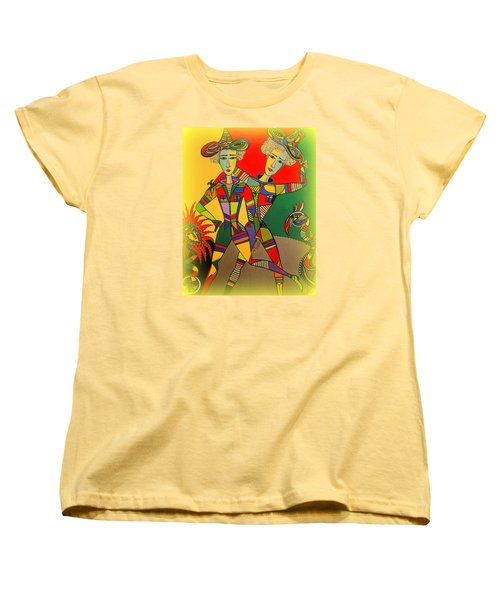 Women's T-Shirt (Standard Cut) featuring the painting Let's Go Brother by Marie Schwarzer