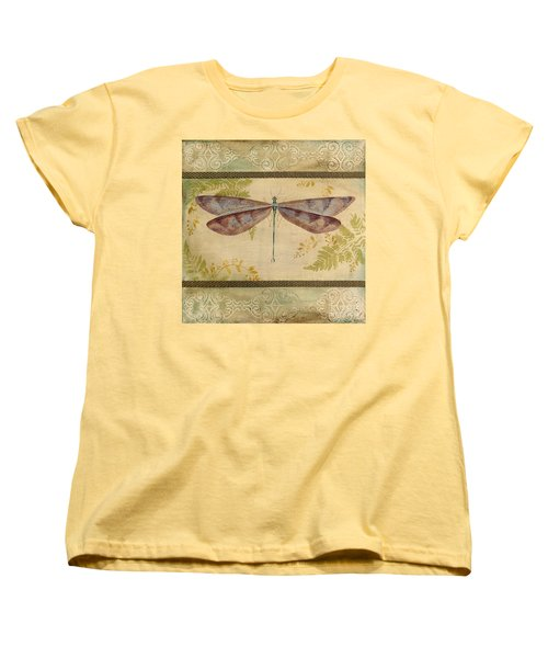 Dragonfly Among The Ferns-3 Women's T-Shirt (Standard Cut) by Jean Plout