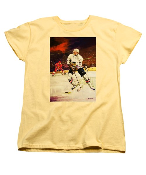 Women's T-Shirt (Standard Cut) featuring the painting Drama On Ice by Al Brown