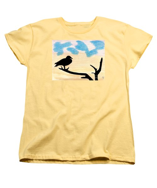 Women's T-Shirt (Standard Cut) featuring the drawing Duck Sunset by D Hackett