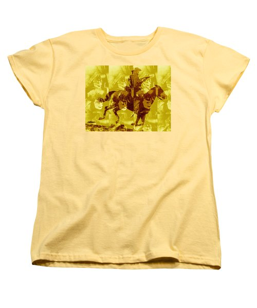 Women's T-Shirt (Standard Cut) featuring the digital art Duel In The Saddle 1 by Seth Weaver