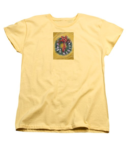 Women's T-Shirt (Standard Cut) featuring the painting Duxbury Oyster Wreath by Jean Pacheco Ravinski
