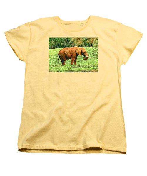 Women's T-Shirt (Standard Cut) featuring the photograph Elephant by Rodney Lee Williams