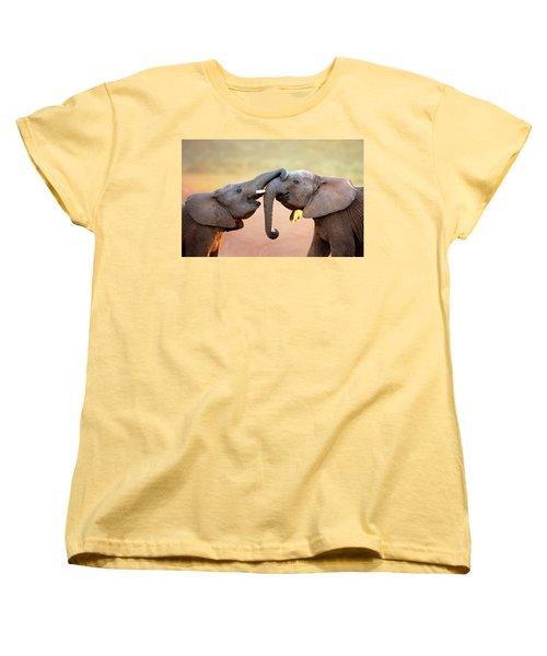 Elephants Touching Each Other Women's T-Shirt (Standard Cut) by Johan Swanepoel
