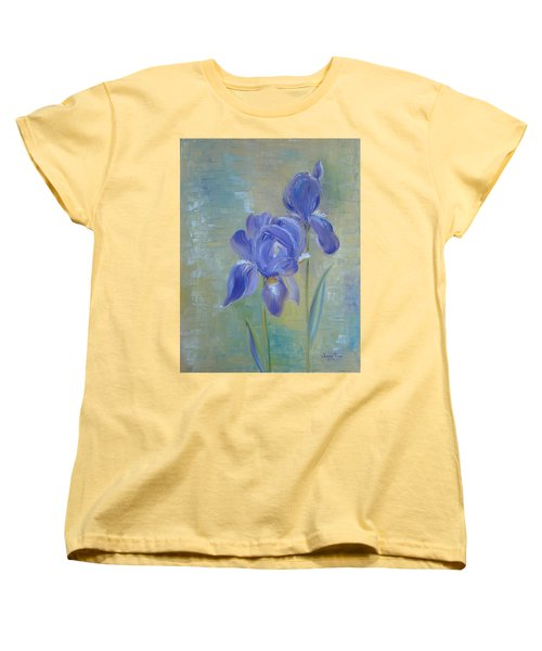 Women's T-Shirt (Standard Cut) featuring the painting Elizabeth's Irises by Judith Rhue