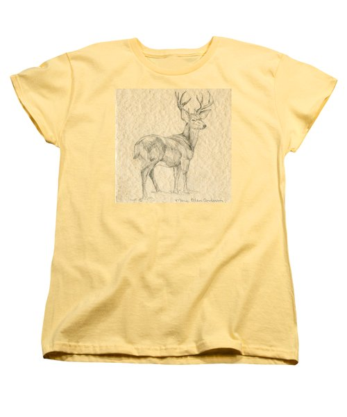 Women's T-Shirt (Standard Cut) featuring the drawing Elk by Mary Ellen Anderson
