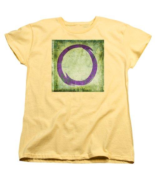 Enso No. 108 Purple On Green Women's T-Shirt (Standard Cut) by Julie Niemela
