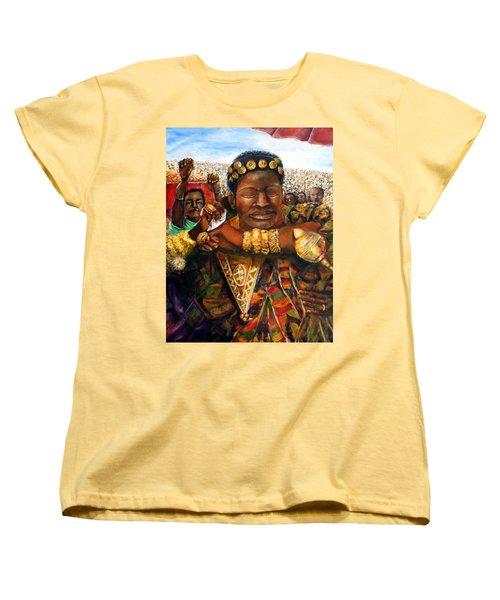 Women's T-Shirt (Standard Cut) featuring the painting Ethiopia Dancing  by Bernadette Krupa