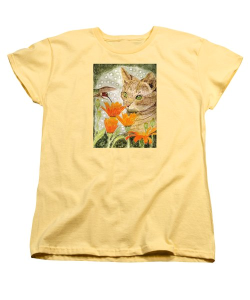 Women's T-Shirt (Standard Cut) featuring the painting Eye To Eye by Angela Davies