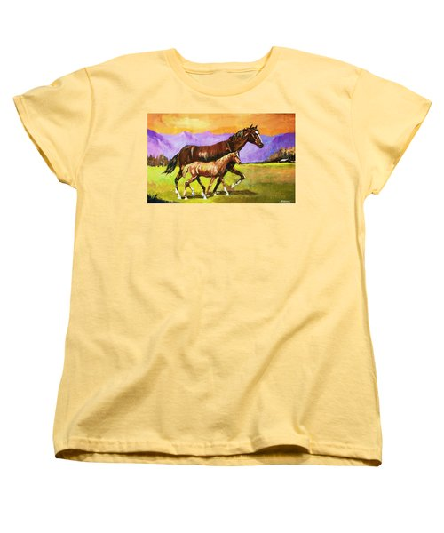 Women's T-Shirt (Standard Cut) featuring the painting Family Stroll by Al Brown