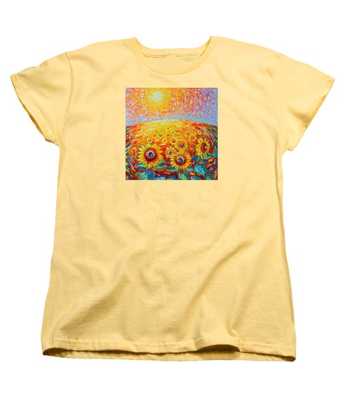 Fields Of Gold - Abstract Landscape With Sunflowers In Sunrise Women's T-Shirt (Standard Cut) by Ana Maria Edulescu