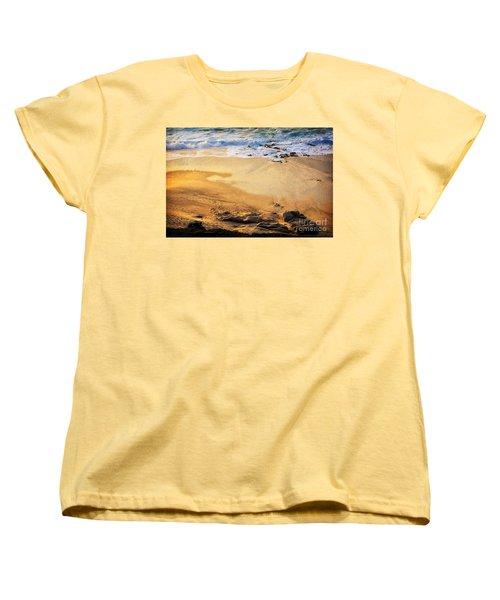 Women's T-Shirt (Standard Cut) featuring the photograph Fiery Beach by Ellen Cotton