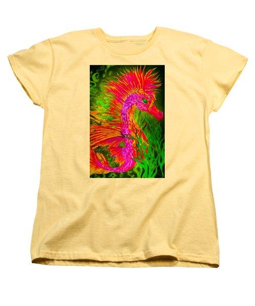 Fiery Sea Horse Women's T-Shirt (Standard Cut) by Adria Trail