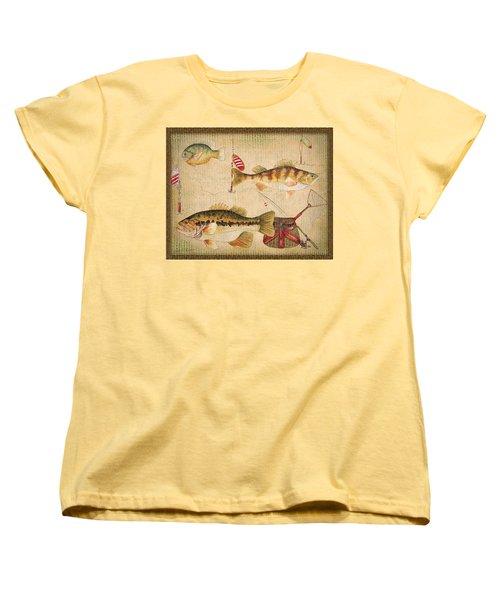 Fish Trio-a-basket Weave Border Women's T-Shirt (Standard Cut) by Jean Plout