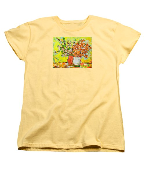 Forsythia And Cherry Blossoms Spring Flowers Women's T-Shirt (Standard Cut) by Ana Maria Edulescu
