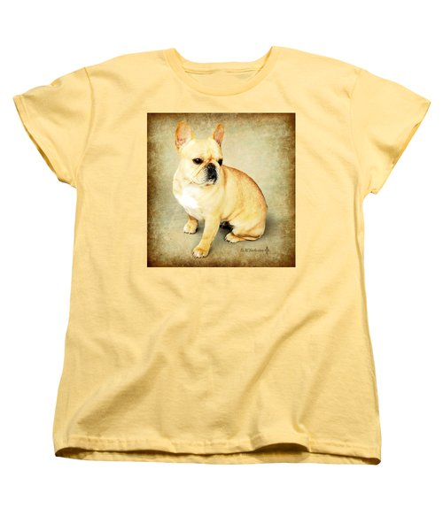 Women's T-Shirt (Standard Cut) featuring the photograph French Bulldog Antique by Barbara Chichester