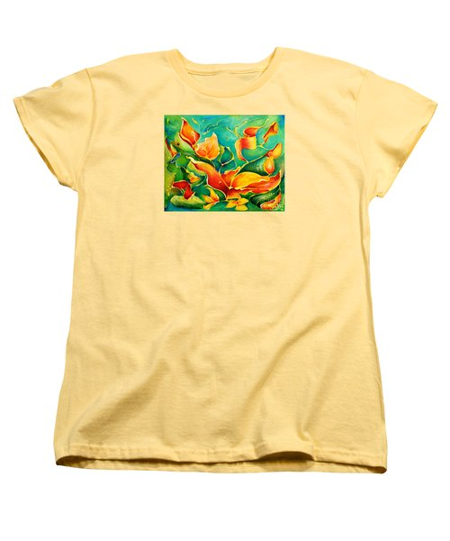 Women's T-Shirt (Standard Cut) featuring the painting Garden Series No.3 by Teresa Wegrzyn