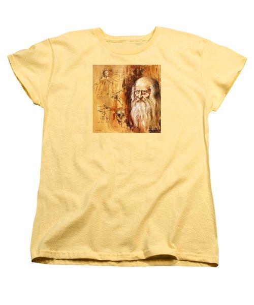 Genius   Leonardo Da Vinci Women's T-Shirt (Standard Cut) by Arturas Slapsys