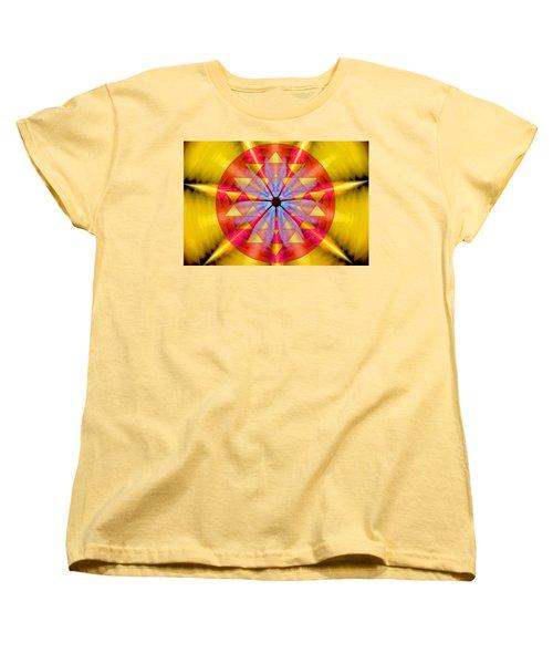 Geo-cosmic Sri Yantra Women's T-Shirt (Standard Cut) by Derek Gedney