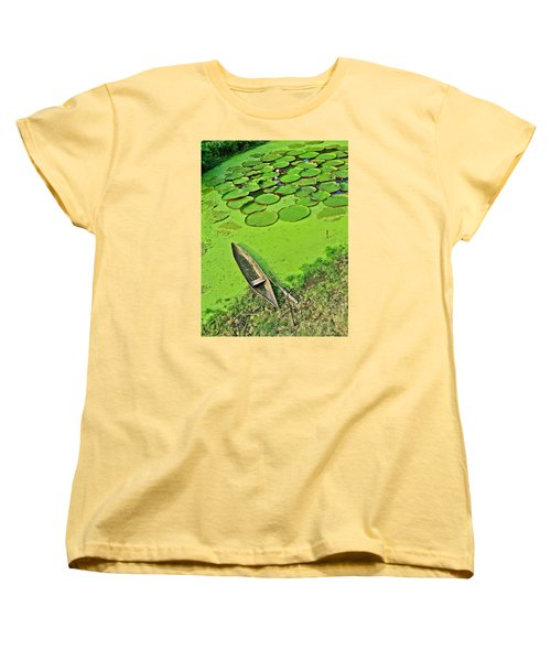 Giant Water Lilies And A Dugout Canoe In Amazon Jungle-peru Women's T-Shirt (Standard Cut) by Ruth Hager