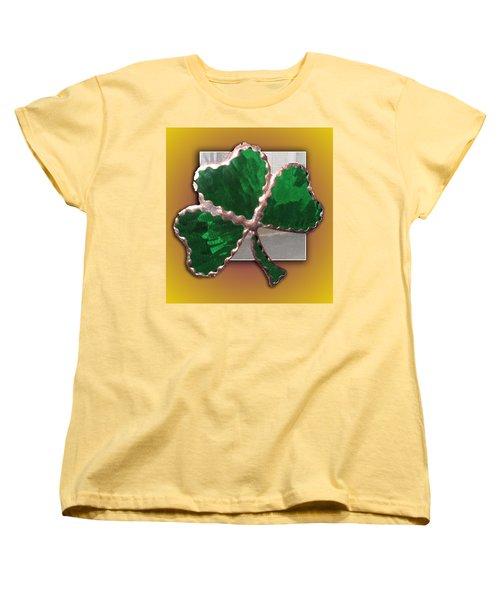 Women's T-Shirt (Standard Cut) featuring the photograph Glass Shamrock by Barbara McDevitt