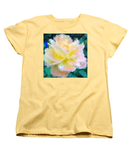Glazed Pale Pink And Yellow Rose  Women's T-Shirt (Standard Cut) by Anna Porter