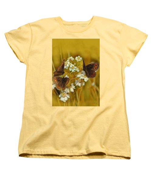 Gold And Brown Women's T-Shirt (Standard Cut) by Jacqi Elmslie